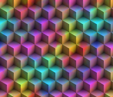 Cubes Pyramid Rainbow Geometric Psychedelic 3D Fabric Printed by Spoonflower BTY