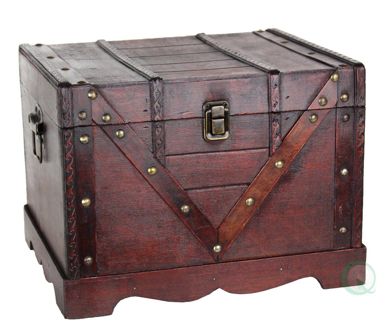 Decorative Luggage Box Wooden Treasure Box Old Style Treasure Chest  Trunksuitcase