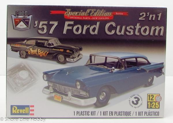 """This 1957 Ford Custom 2'n1 plastic model car kit is made by Revell in 1/25 scale. Optional """"E code"""" dual carbs and manifold Drag race version parts including sl"""