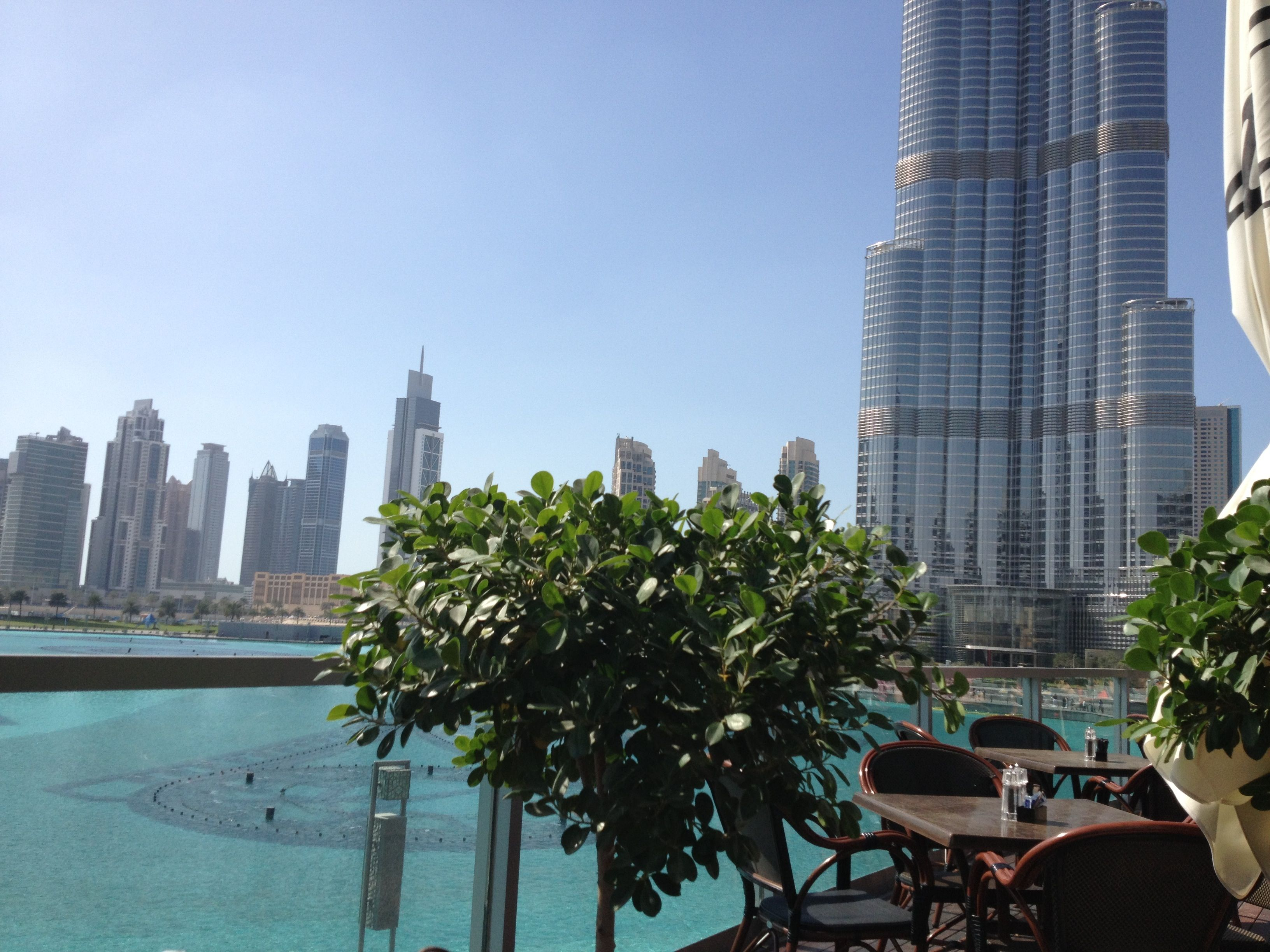 View of the Dubai Fountain and Burj Khalifa from Madeline Cafe (love this spot)