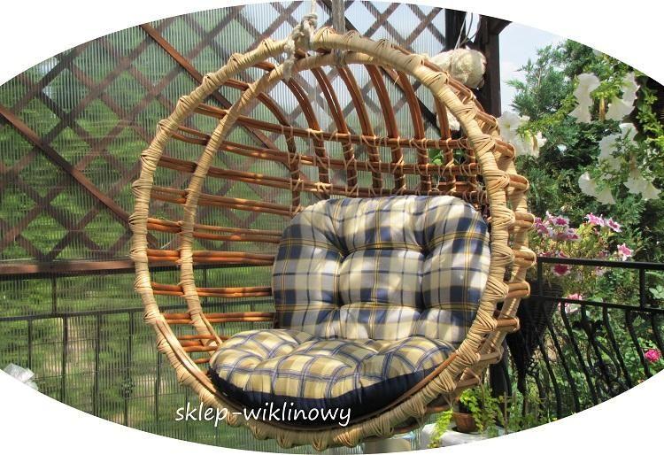 Huśtawka Wiklinowa Wiszący Fotel Wiklinowy Ogród Ogród