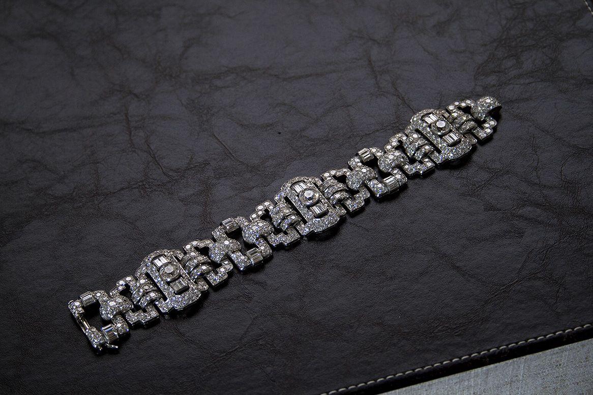 French art deco diamond bracelet via jogani art deco jewelry by