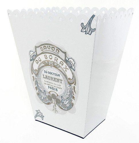 ... Trashcan, Trash Holder Basket Or Bin ~ Scallop Edge Vintage White Metal  Waste Basket With Hand Decoupage Old French Soap Label Knobs U0026 More Home  Decor