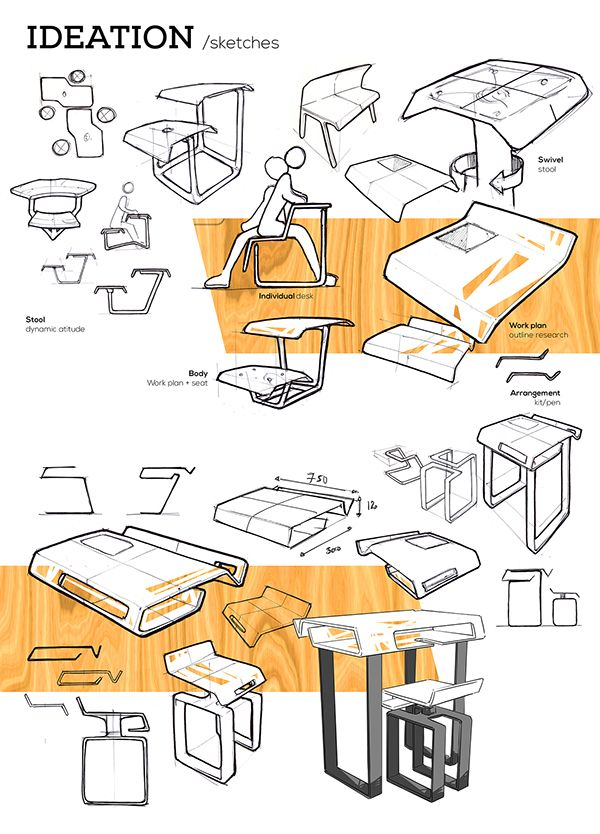 Stool And Desk On Behance Design Sketch Product Skecht