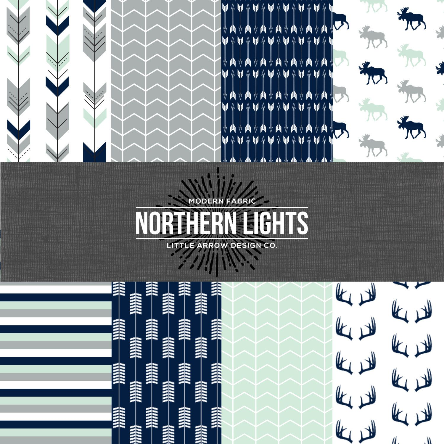 Northern Lights Navy Mint and Gray Bedding by maxandgrace