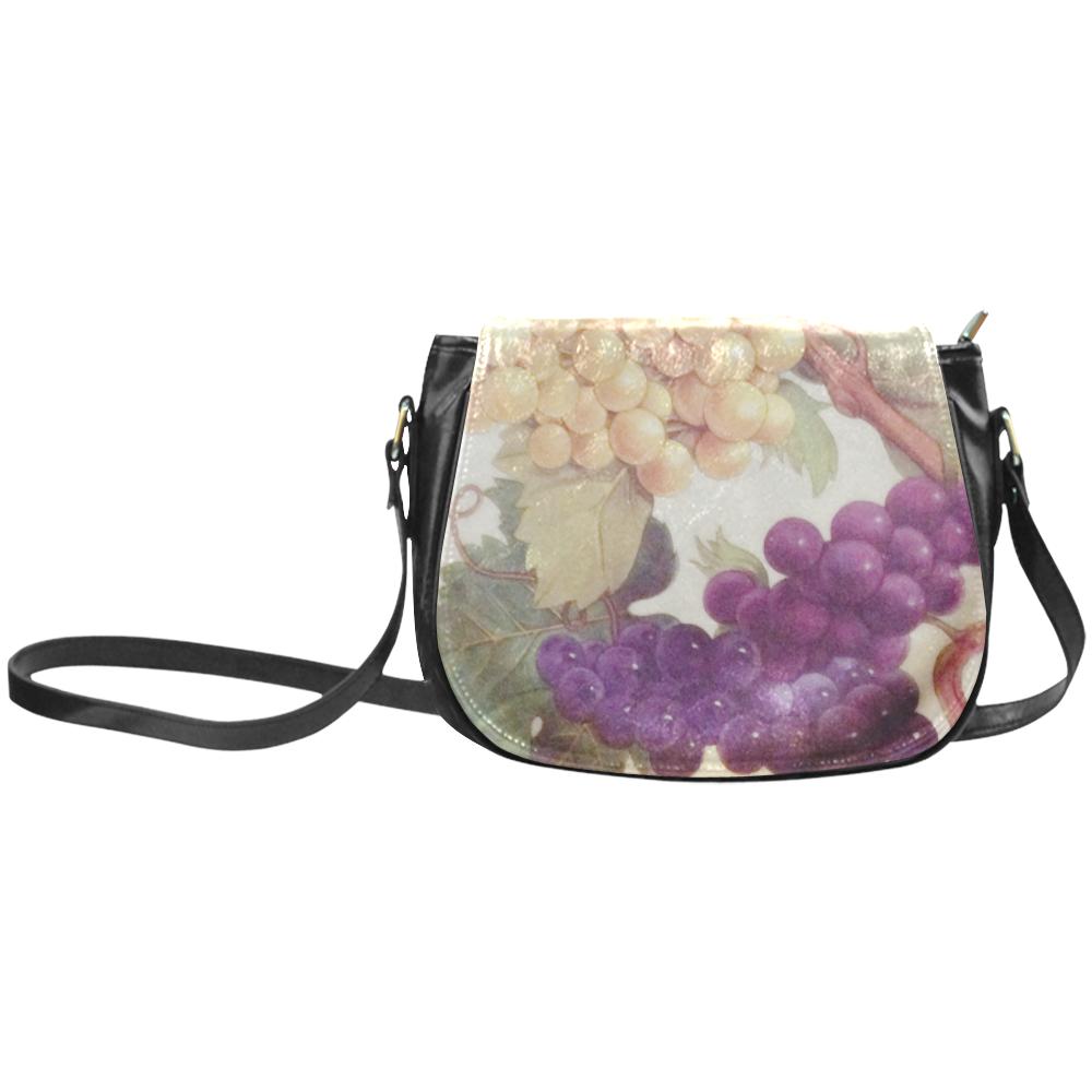 Purple Grapes Butterflies Vintage Floral Classic Saddle Bag/Large (Model 1648)