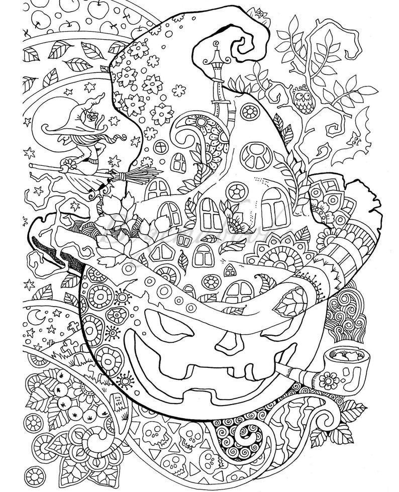 Halloween!: Adult Coloring Book (PDF coloring pages ...