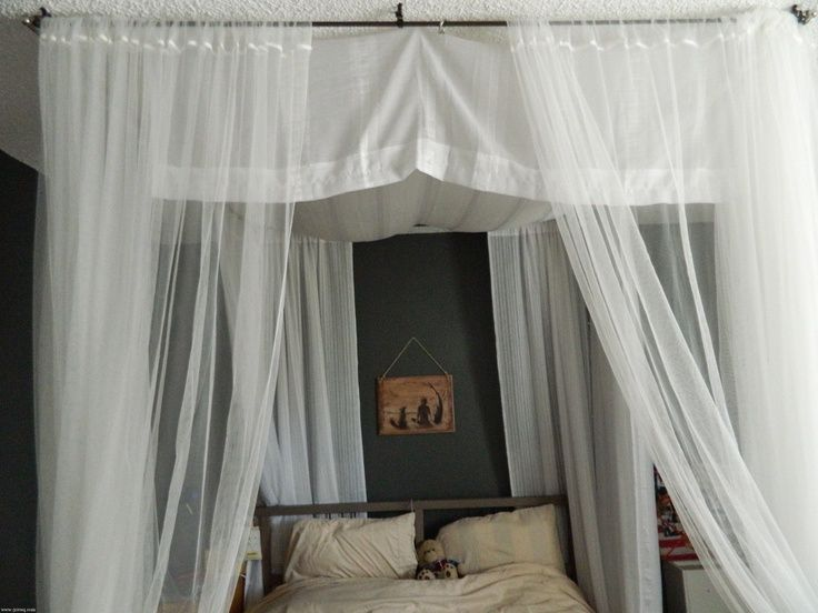 DIY Canopy Bed Itu0027s just curtain rods a bed sheet and some curtains. Bet you could find most of it at a thrift store. & DIY canopy bed - day Lisette L | Black pants | shapers | slimwear ...