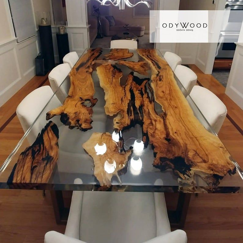 Olive Wood Epoxy Resin Dining Table Custom Order Etsy Wood Table Design Epoxy Wood Table Wood Resin Table