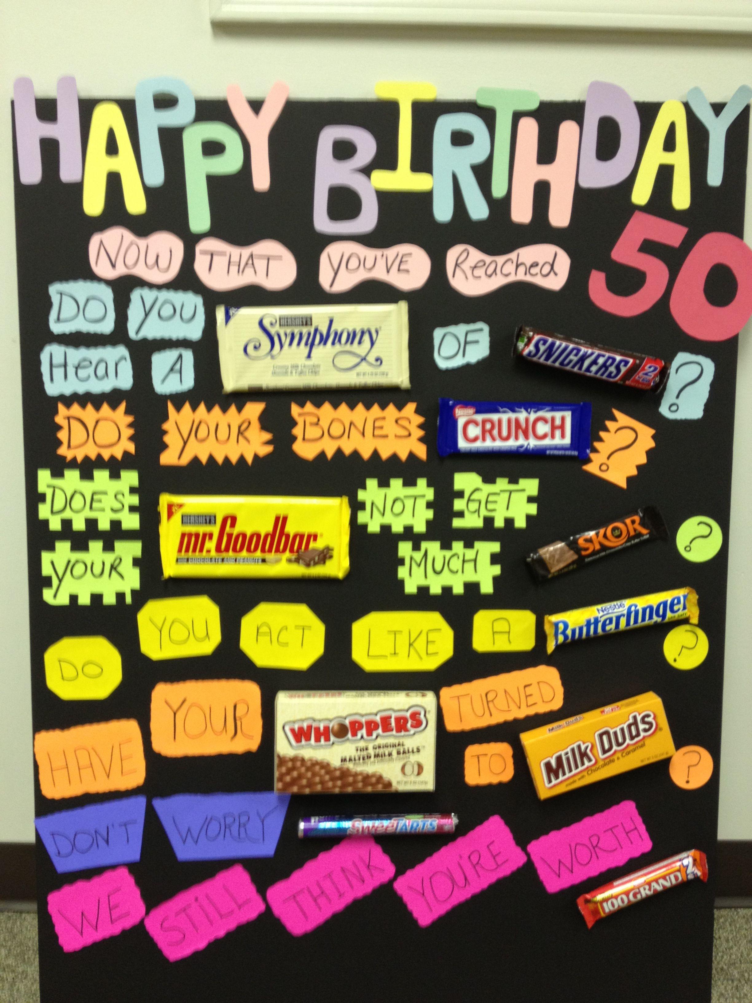 50th Birthday Card Candy Bar Cards 70th Ideas Table