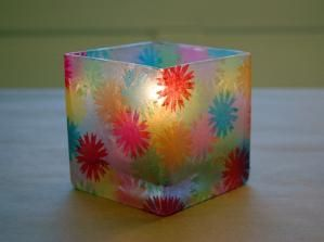 """stained glass"" candle holders by shelby"