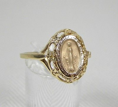 ea92bee25 14k Yellow Gold Miraculous Medal Ring Size 6 QVC on eBay! I don't wear size  6 but I sure like the ring!