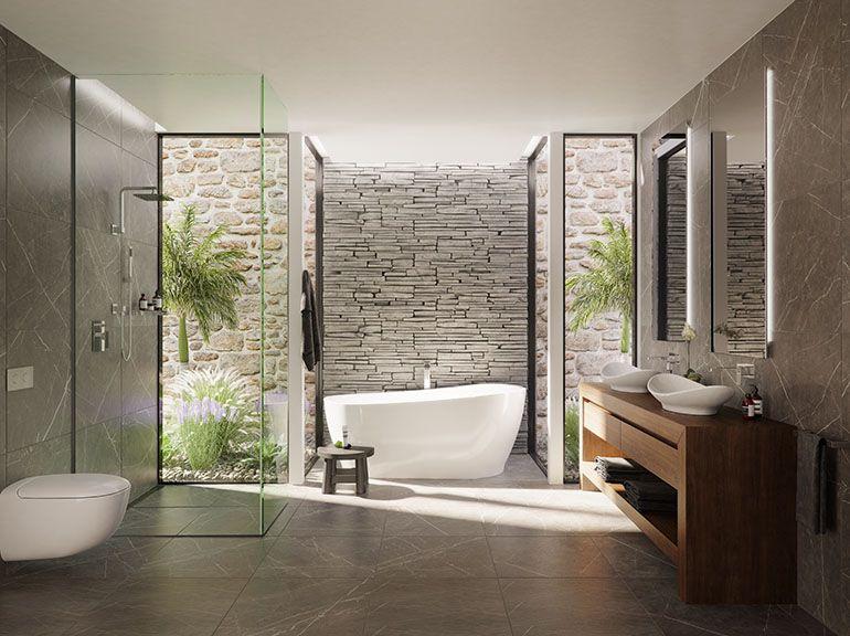 stylish bathroom vanity in polytec Sepia Oak Ravine Modern