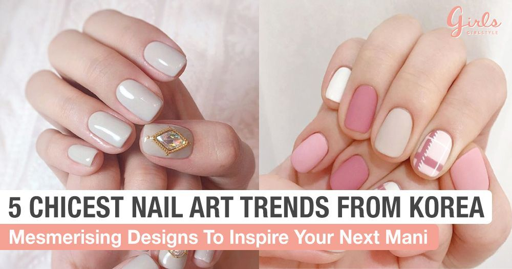 5 Korean Nail Art Trends That We Are Totally Obssessed With ... #koreannailart 5 Korean  Trends That We Are Totally Obssessed With   letter k nail art - Nail Art #Totally #Nail #NailArt #koreannailart