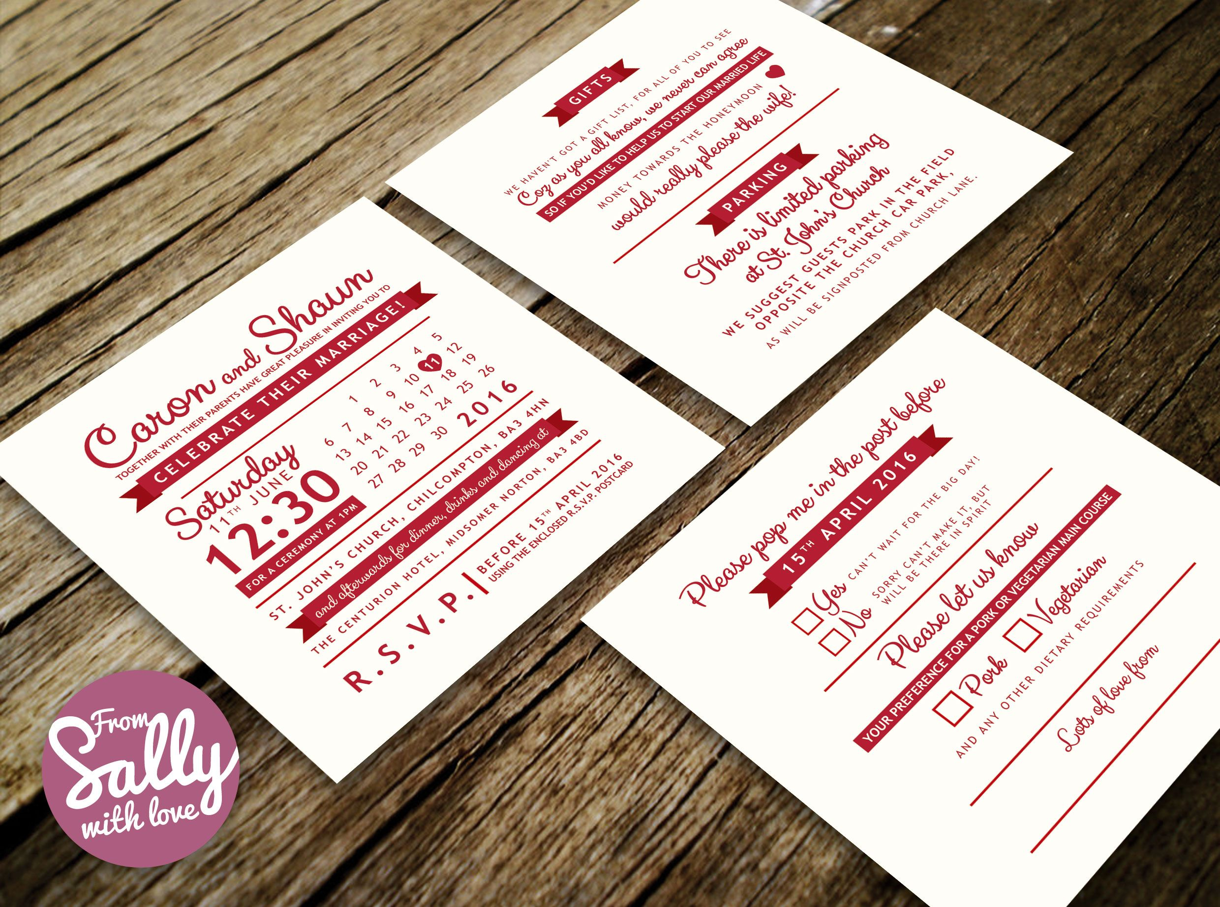 Typgraphic wedding invitations for Caron and Shaun in red ...
