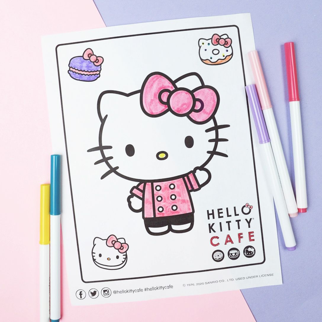 Hello Kitty Cafe Coloring Activity Kitty Cafe Hello Kitty Coloring Hello Kitty Wallpaper