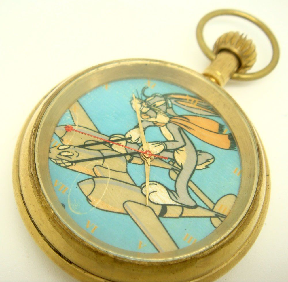 Bugs Bunny on a Lockheed Lightning, 50mm Brass 17-Jewel Swiss Collectible Pocket Watch