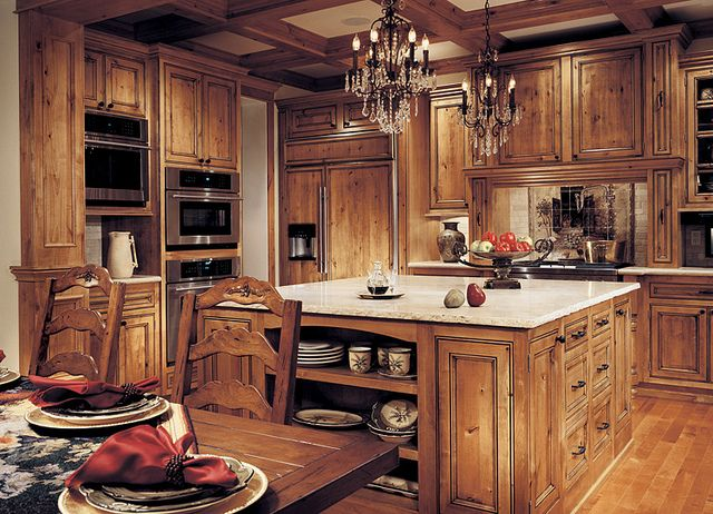 White Granite With Rustic Hickory Or Knotty Alder Cabinets