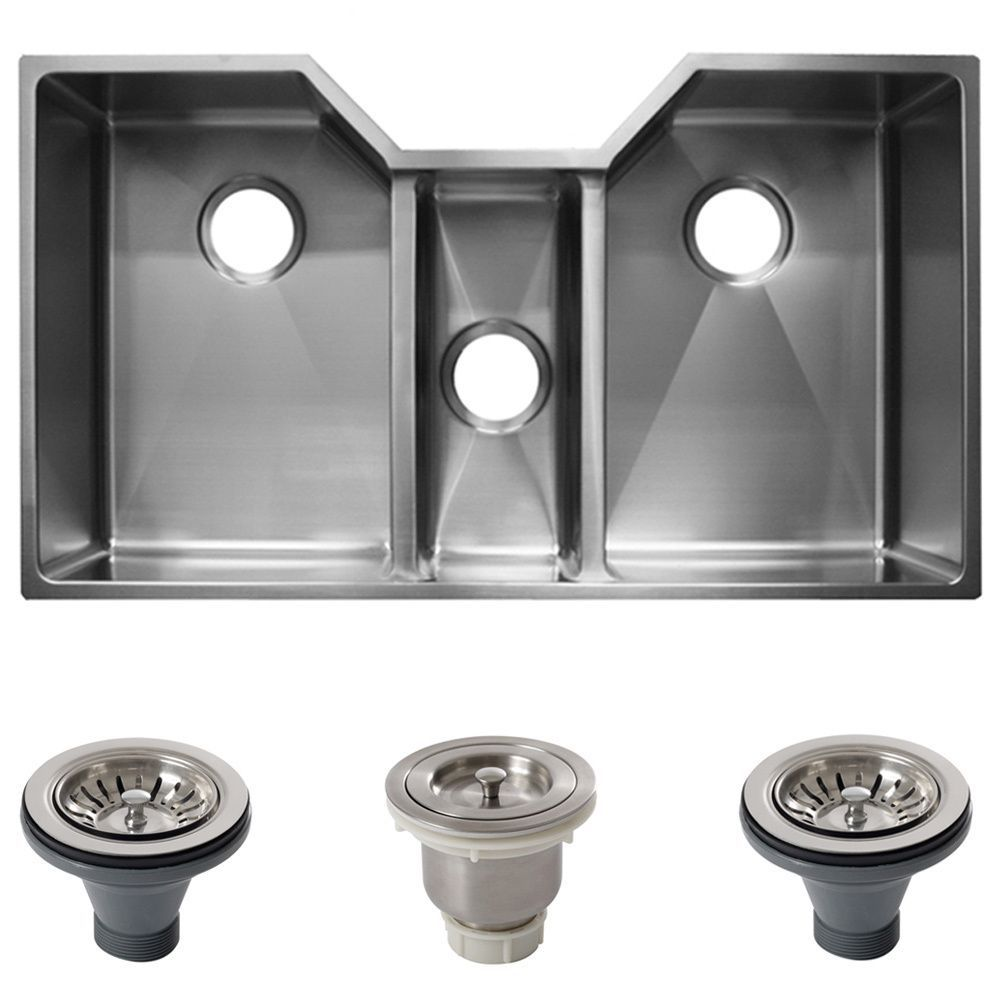 Ticor 36 Inch 16 Gauge Stainless Steel Triple Bowl Undermount
