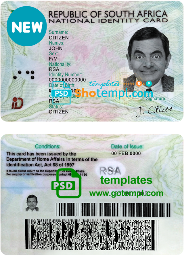 South Africa Id Template In Psd Format Templates South Africa Document Templates