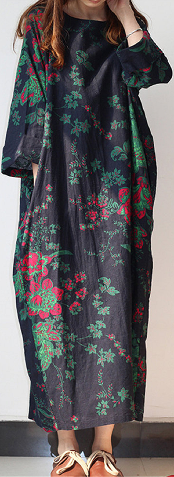 Retro chinese style printed long sleeve pockets women maxi dress