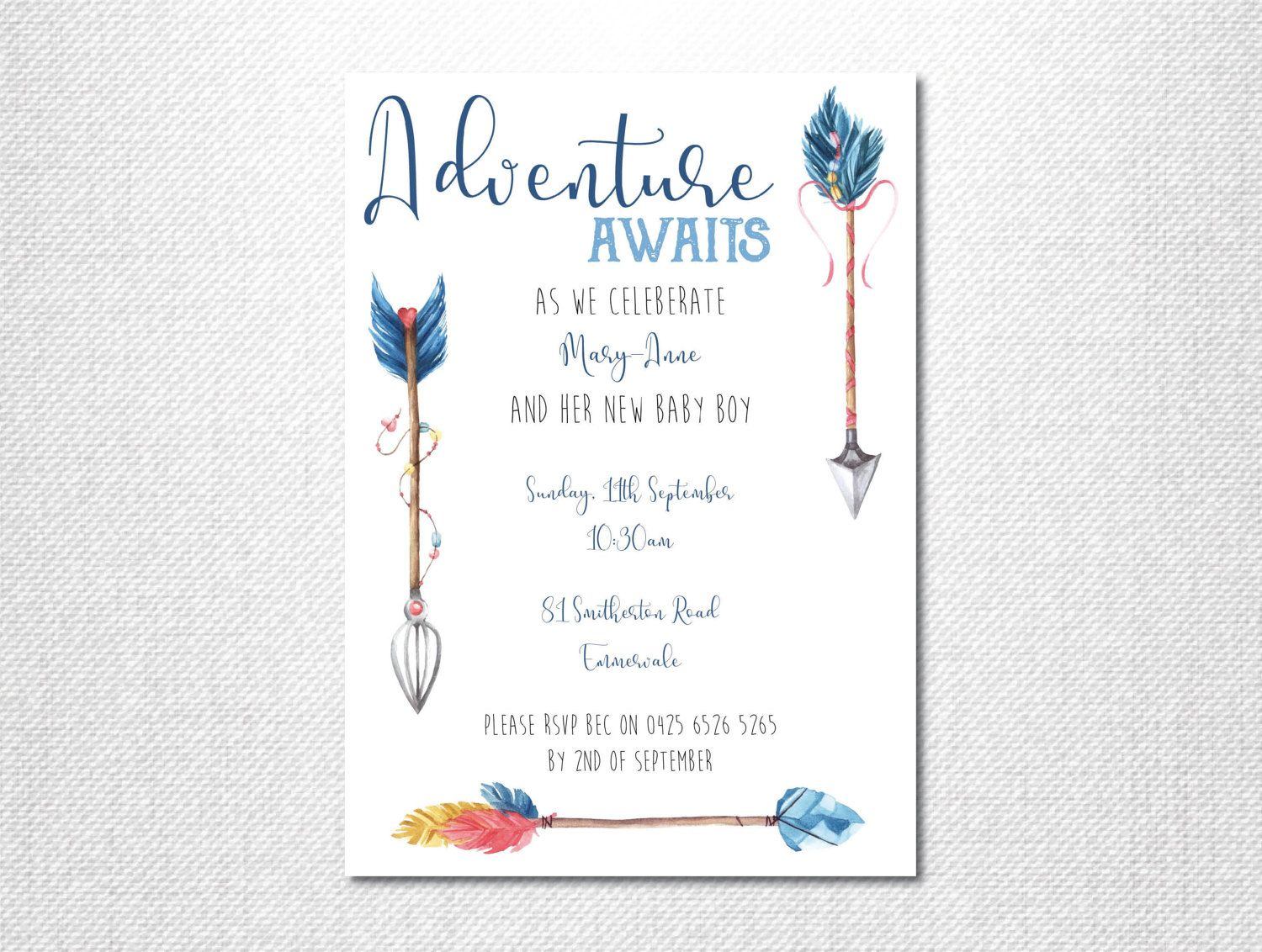 Adventure Baby Shower Invitation  Boho Baby Shower Invitation