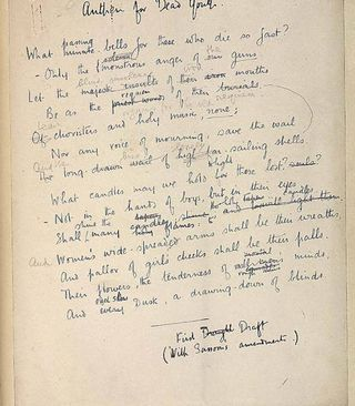 wilfred owen draft of anthem for doomed youth war poems  wilfred owen anthem for doomed youth essay writing essay examples how to write essay on anthem for doomed youth commentary wilfred owen example essay