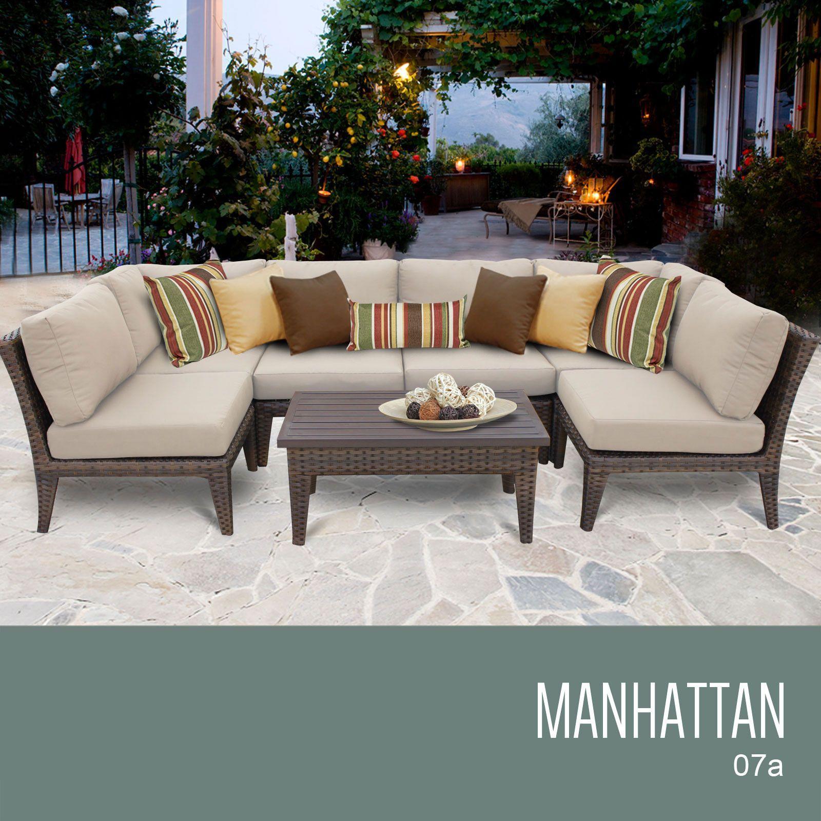 Tkc Manhattan 7 Piece Outdoor Wicker Furniture Conversation Set 07a Beige Jardins