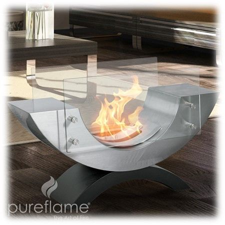 The Half Ellipse ethanol fireplace by PureFlame is a sure way to rejuvenate an existing space and update the modernity of any room or area. Designed to be portable and appropriate for indoor or outdoor use, Half Ellipse can be positioned for optimum viewing angle and flexibility due to its open appearance. This fireplace sits on an arced black powder-coated base which holds its body, shaped to the contrary and expertly finished in brushed stainless steel. The flame sits behind 2 plates of…