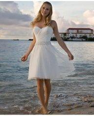 A-line Cocktail Length Destination Wedding Dress #Destination #Beach #Wedding #Dress