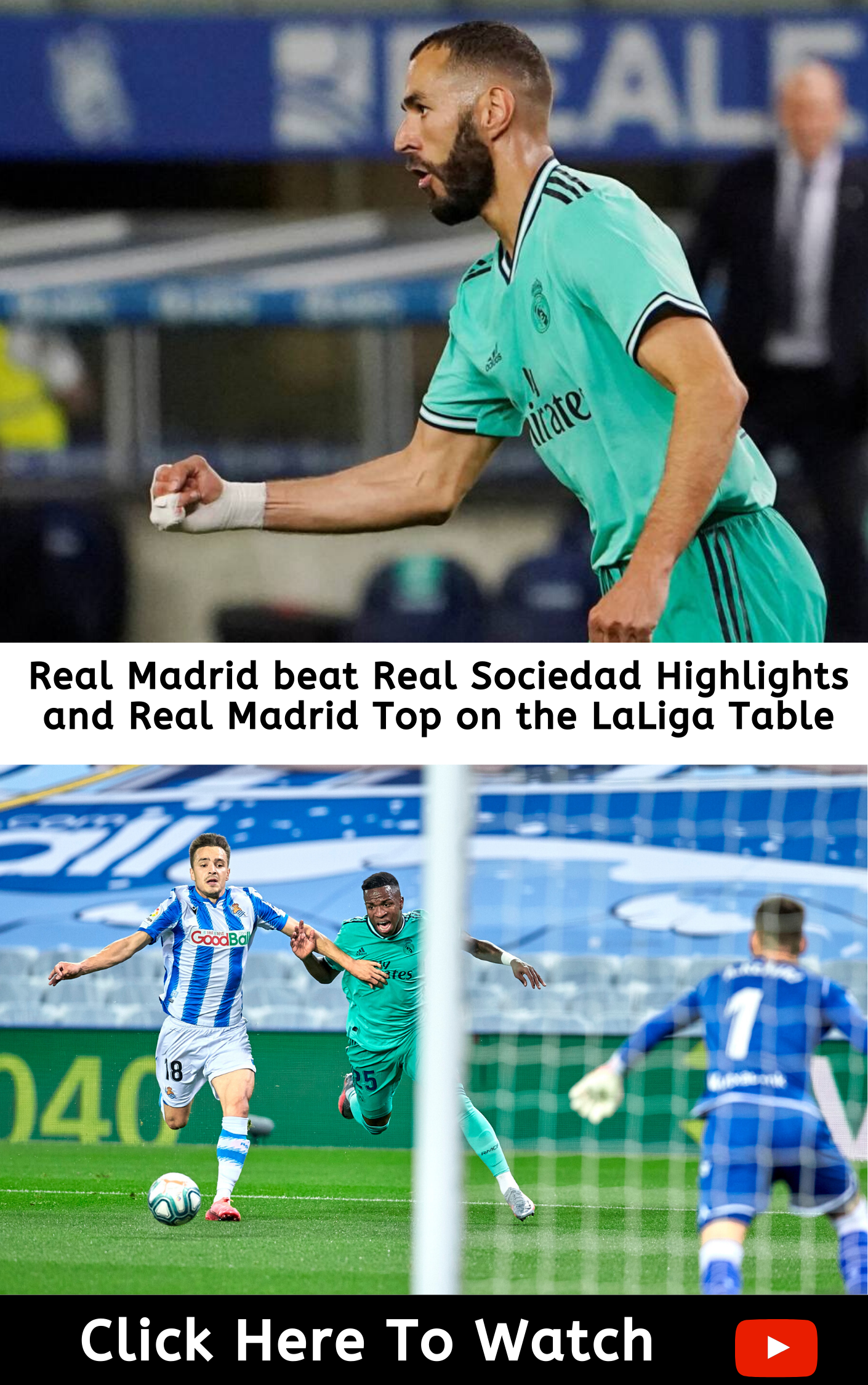 Real Madrid Beat Real Sociedad Highlights And Real Madrid Top On The Laliga Table In 2020 Real Sociedad Real Madrid Madrid