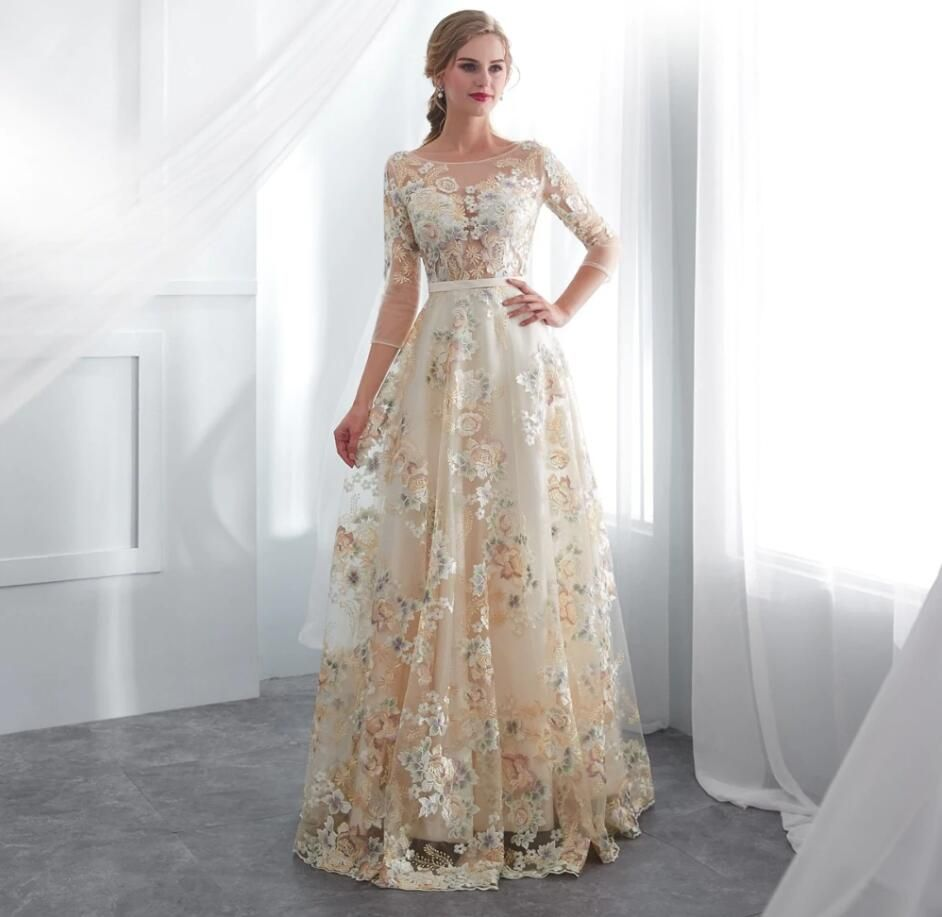 Floral Prom Dresses Lace 3 4 Sleeves A Line Champagne Belt Empire Waist Long Evening Gowns Vestido De Formatura 642 Floral Prom Dresses Wedding Dress Long Sleeve Long Sleeve Lace Dress [ 917 x 942 Pixel ]