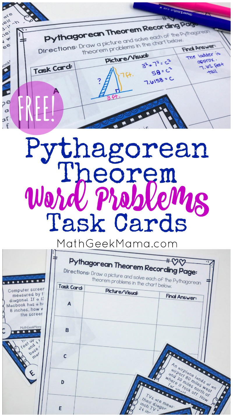 {FREE} Pythagorean Theorem Word Problems Task Cards in