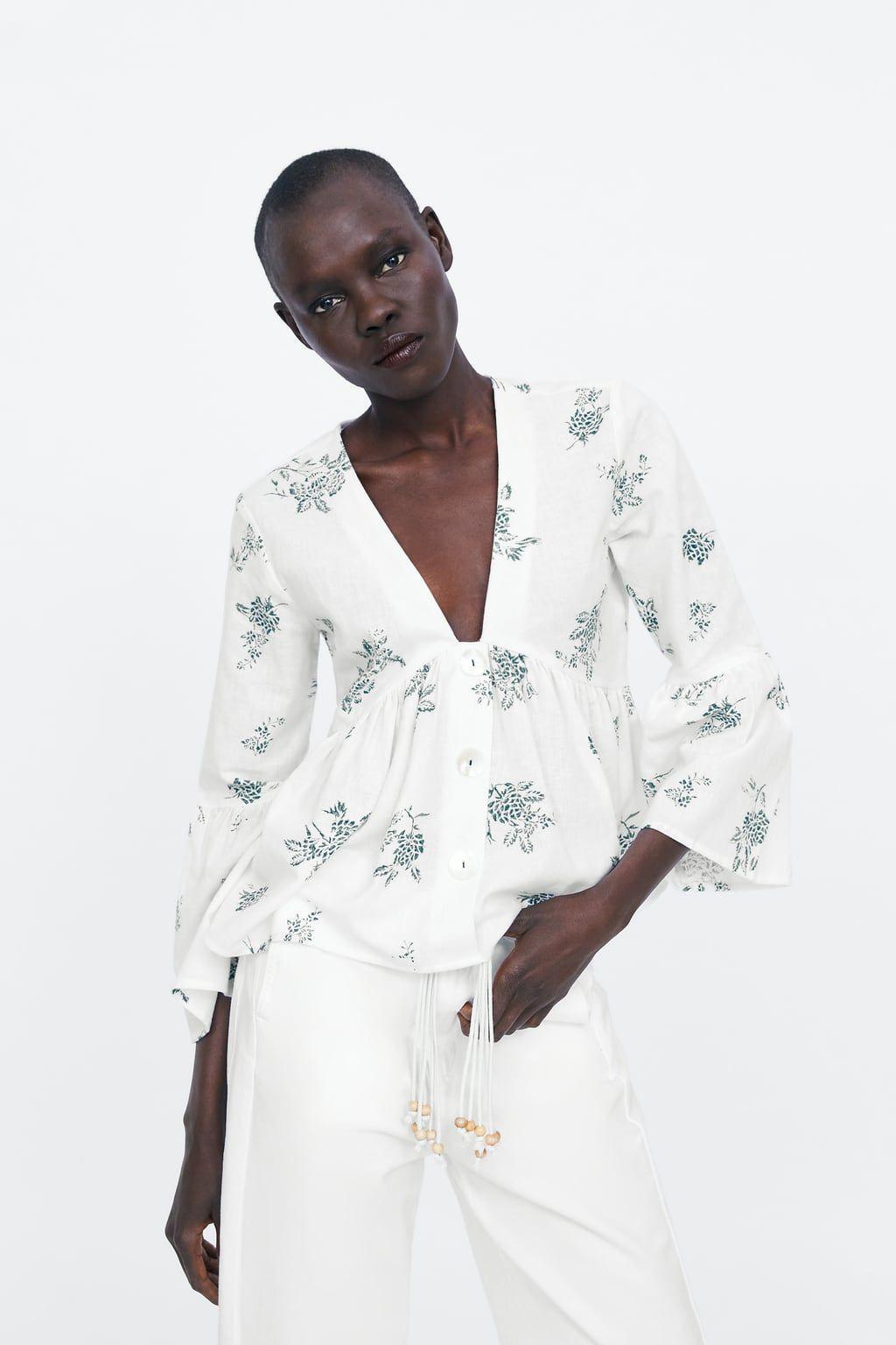 Blusa estampada botones   Closet en 2019   Vestidos de manga