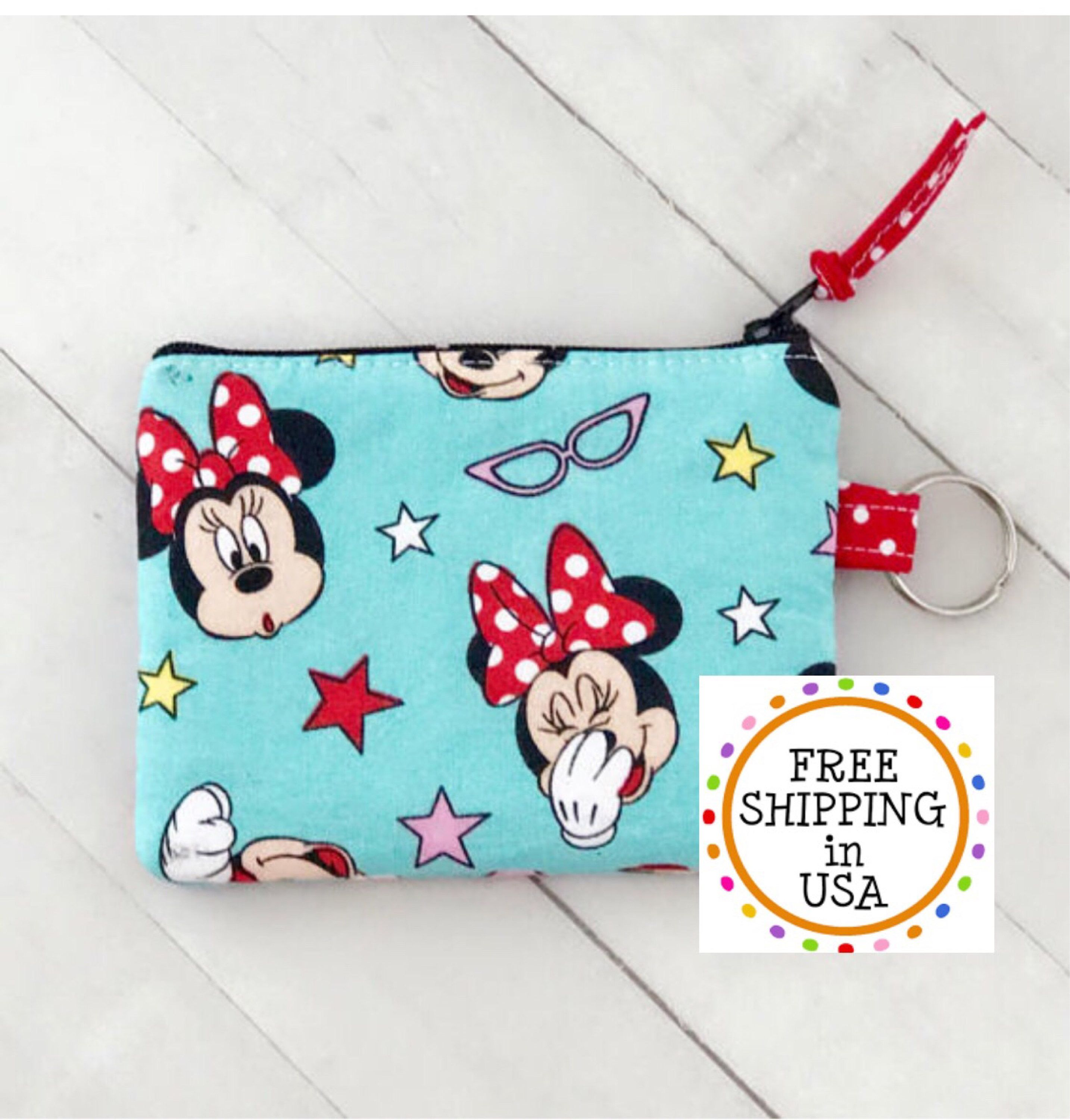 Disney minnie mouse keychain coin purse coin pouch credit
