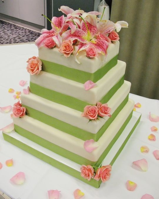 Pink and Green Wedding Cake with Fresh Flowers