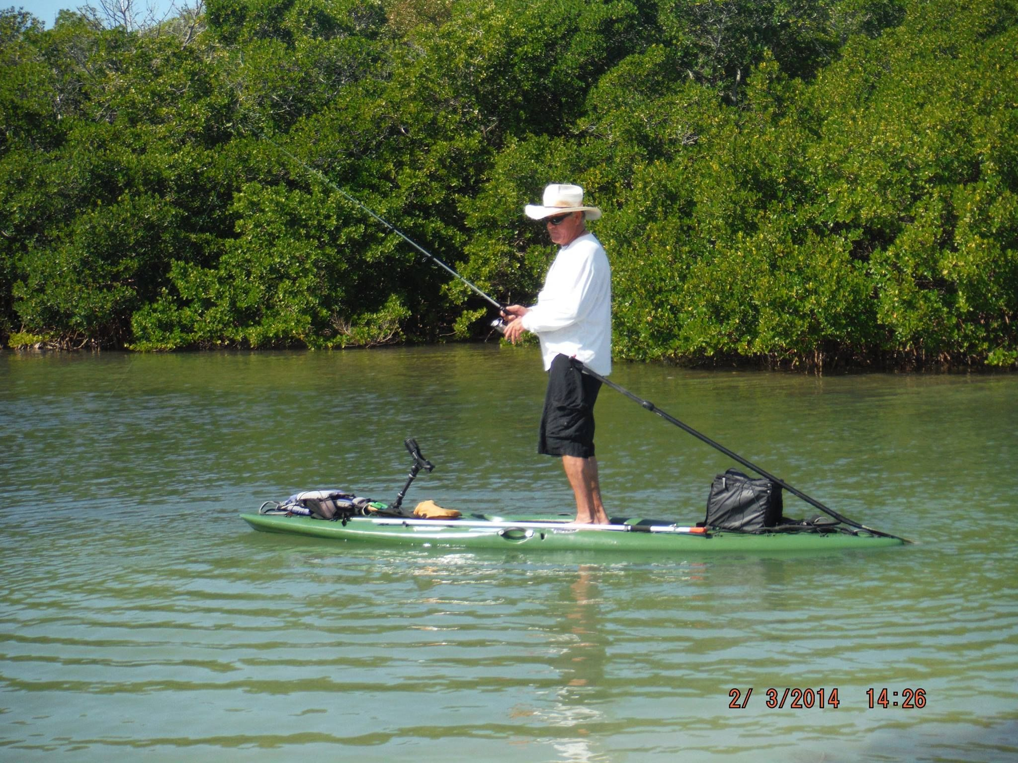 Sup sunday check out jamie h sup fishing on a kaku kayak for Paddle board fishing accessories
