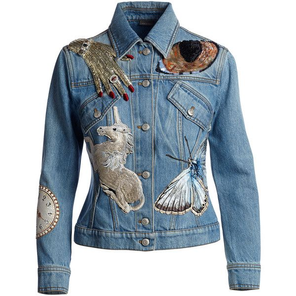 Alexander McQueen Icon Embroidered Jean Jacket (£3,140) ❤ liked on Polyvore featuring outerwear, jackets, blue denim jacket, embroidered jean jacket, jean jacket, slim fit jean jacket and straight jacket