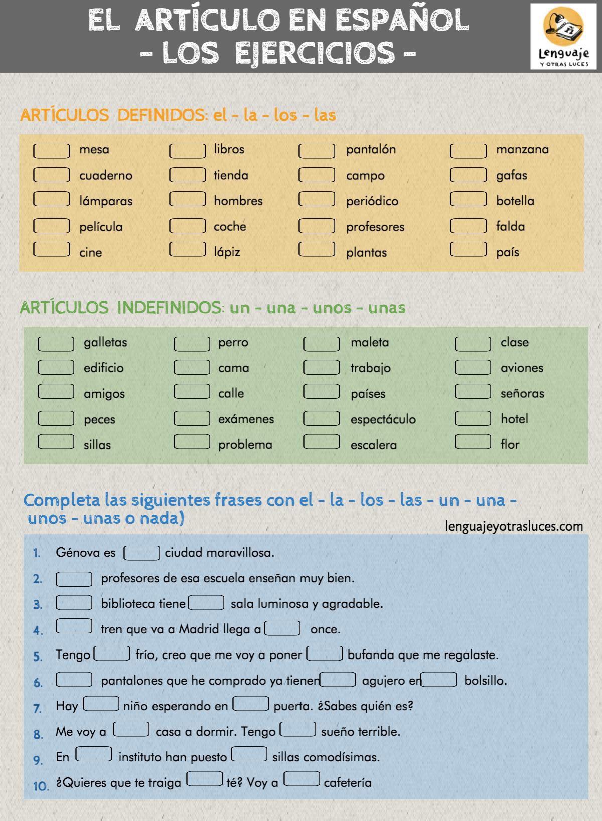 Ejercicios Artículo En Español Ejercicios Para Aprender Español Articulos Español Ejercicios De Español