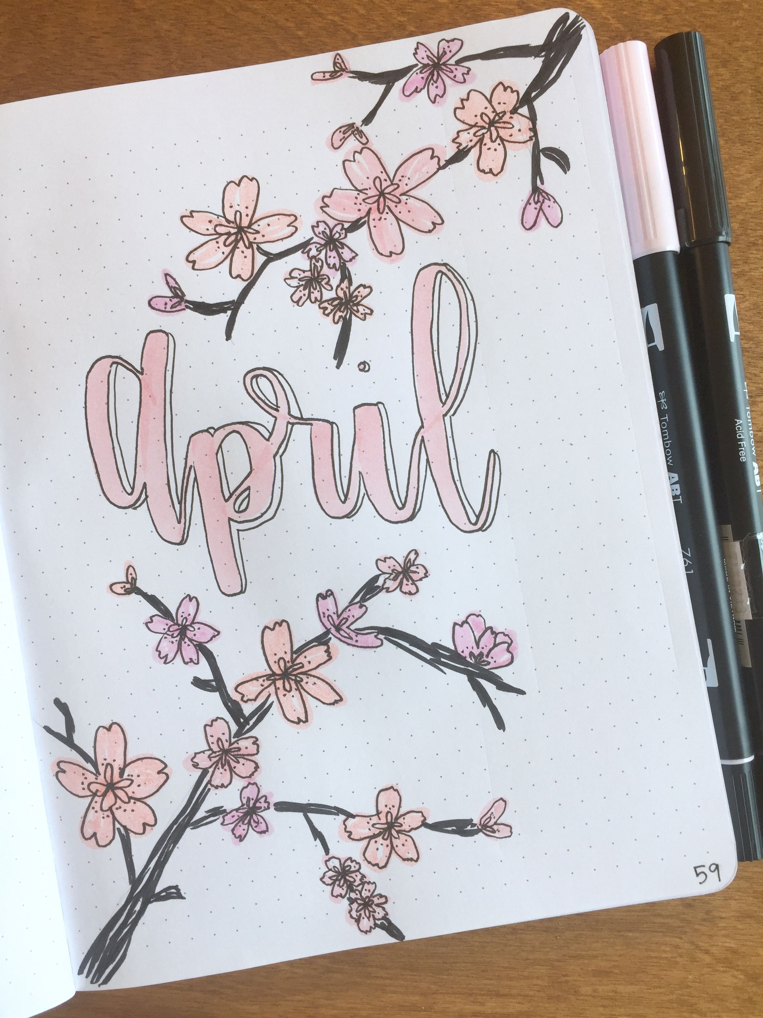 April Bullet Journal Title Page Bulletjournal Cherryblossoms Bujo