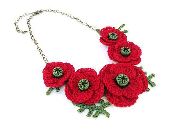 Häkeln Sie Halskette, bestehend aus 5 realistische und detaillierte ...