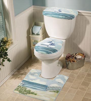 Nautical Beach Bath Toilet Cover Amp Contour Rug Plus One