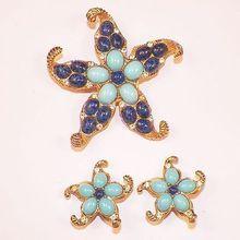 Vintage Costume Gold Tone Starfish Pin & Earrings