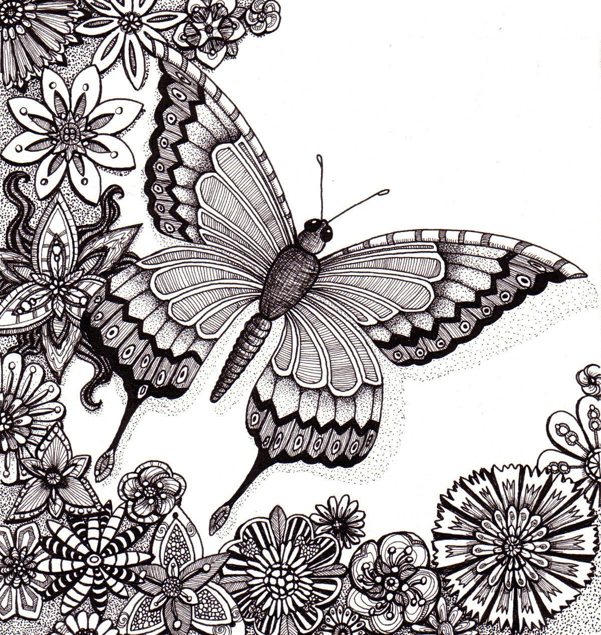 Flutter By Butterfly Beautiful And Original Whimsical Abstract Psychedelic Ink Drawing Illustration Butterfly Flowers Zentangle Art Zentangle Drawings Butterfly Coloring Page [ 1267 x 1200 Pixel ]
