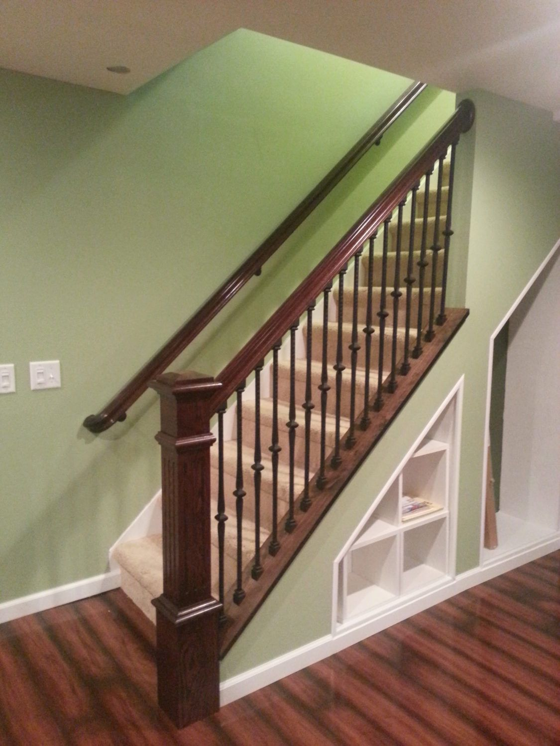 Project 189 Wood Knee Wall Cap Banister Remodel Basement