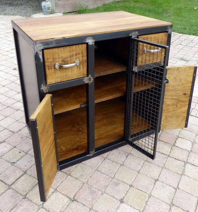 fabrication meuble bois métal style industriel sur mesure Wooden