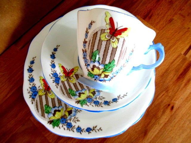 Art Deco / Vintage China Tea Set Trio.C.W.S Windsor China.1494.British #Teacupsaucerandteaplatetrio