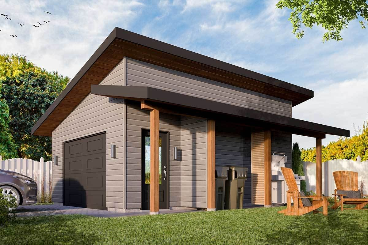 Plan 22527dr Modern Detached Garage Plan With Shed Roof Porch In 2020 Garage Plan Shed With Porch Shed Roof