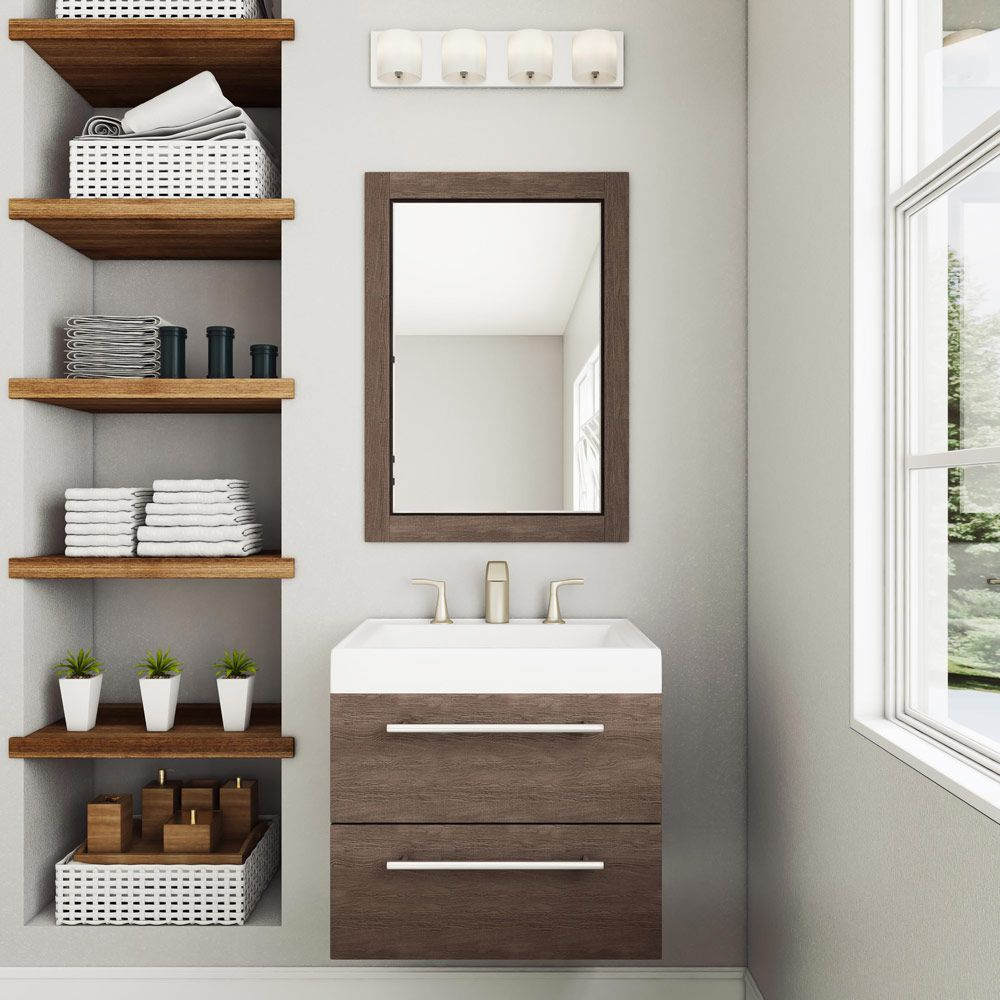 Open shelving for the linen closet Bathroom vanity