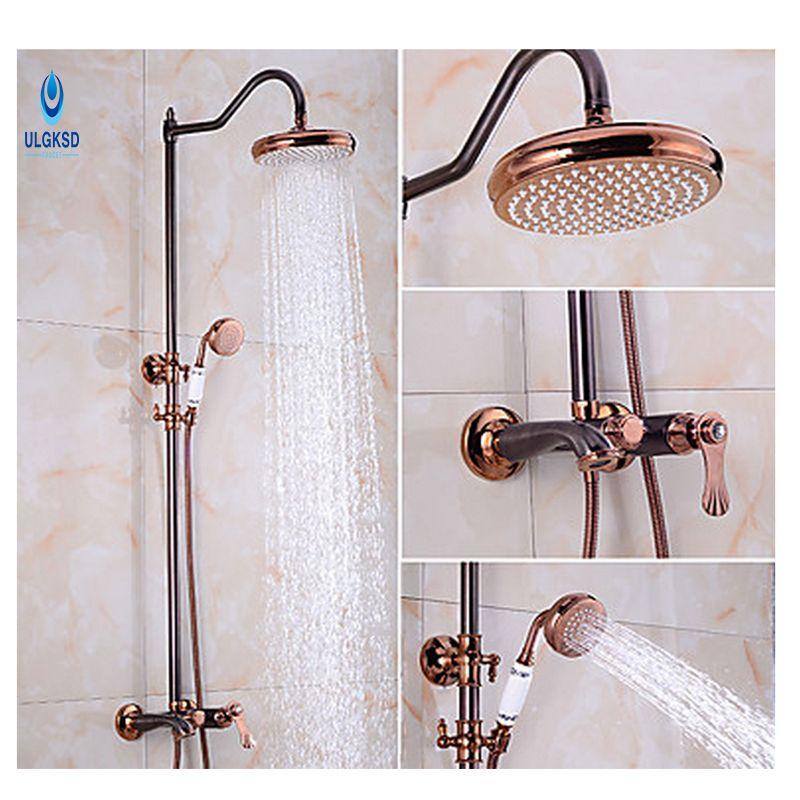 ULGKSD Bathroom Rainfall Shower Faucet Bathroom Shower Head W ...